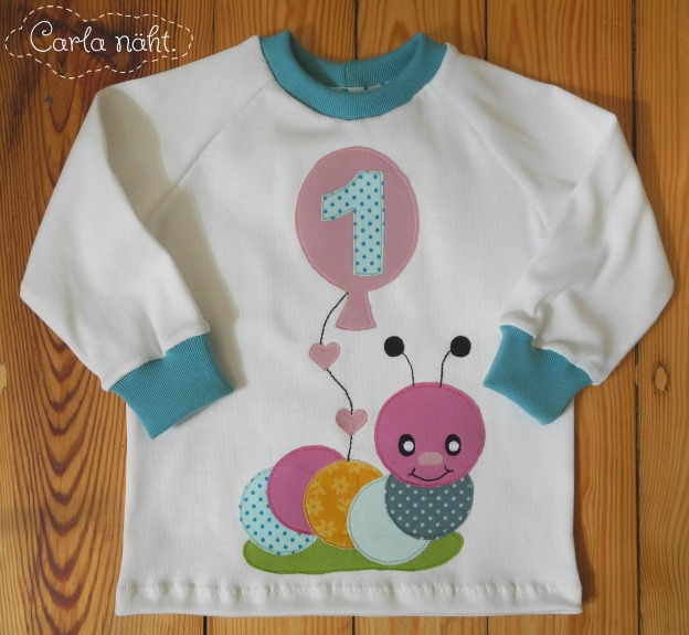 Raupe Applikationsvorlage kostenlos Caterpillar free applique pattern Geburtstagsshirt birthday shirt