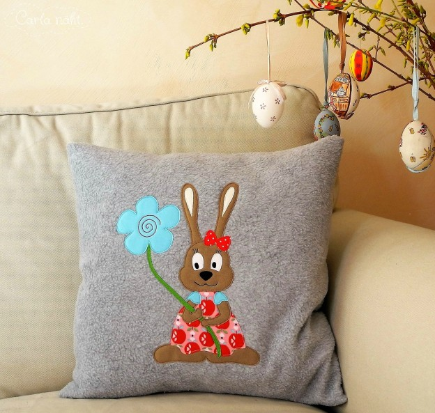 kostenlose Applikationsvorlage Hase Häsin Ostern free applique pattern rabbit eastern